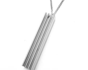 Minimalist technology pendant aluminum necklace computer heatsink tech geek recycled upcycled aluminium simplistic