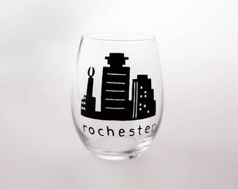 Custom Painted Rochester New York Stemless Wine Glass