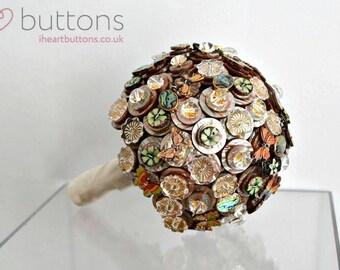 Wedding Bouquet Ready Made using Shimmering Brown/Green & Gold Buttons Alternative to Wedding Flowers Butterflies
