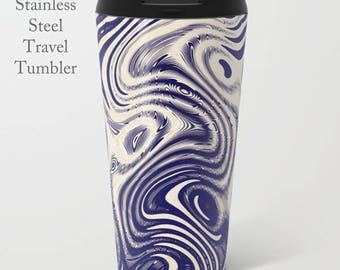 Blue Travel Tumbler-Stainless Steel Mug-Insulated Coffee Mug-Metal Mug-15 oz Tumbler-Funky Coffee Tumbler-Insulated Travel Mug-Travel Cup