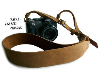 Camera Strap Leather Personalized Gift Men Women Handmade Custom Gift Photographer SLR DSLR Camera Strap Brown Name Initials