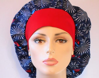 Scrub Hats Bouffant- Sailing Under the Patriotic Red White and Blue Fireworks with a Red Headband Memorial Day  Labor Day hat