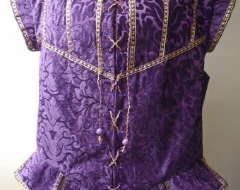 Custom-made Medieval doublet in purple devore velvet with gold trim - man's XL