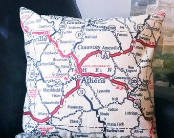 Athens Ohio Map Throw Pillow - Ohio University Map Pillow - Map Toss Pillow - Home Decor - OU Pillow - Map Couch Pillow