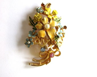 Enamel & Rhinestone Flower Brooch Mid Century