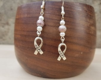 Breast Cancer Awareness Earrings, Dangle Earrings, Gift for Daughter, Gift for Sister, Breast Cancer Jewelry, Pink Ribbon Earrings, Hope