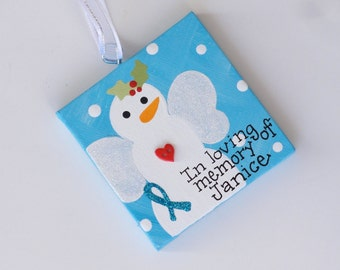 3x3 Personalized Snowman Angel ornament