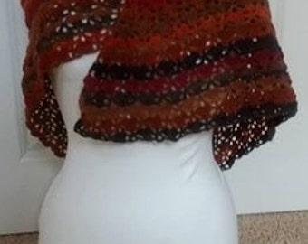 Warm crochet Autumn wrap/shawl.