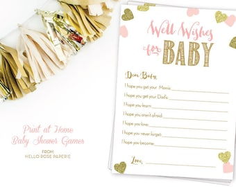 Well Wishes for Baby . Dear Baby Advice Card . Pink and Gold Baby Shower Printable . Instant Download . Baby Girl Shower . Baby Shower Games