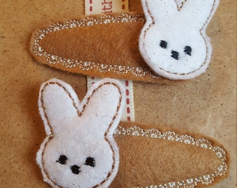 Hair Clips with Glitter Bunny Topper