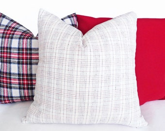 Christmas Pillow Covers, Christmas Cushion, Holiday Throw Pillows, Decorative Pillow, White Red Plaid Pillow, Pillow Case, Wool, 14x20 20x20