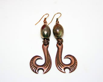 Copper earrings Ceramic copper earrings Hammered copper earrings Dangle copper earrings Boho copper earrings Long copper earrings