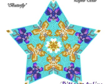 3D PEYOTE STAR Beading Pattern/Tutorial BUTTERFLY + Basic Instructions