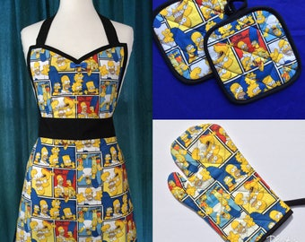 The Simpsons Apron pot holders oven mitt  Gift Set  *Ready to Ship