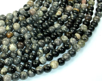 Black Silver Leaf Jasper, 6mm(6.5mm) Round Beads, 16 Inch, Full strand, Approx 64 beads, Hole 1 mm, AA quality (406054009)