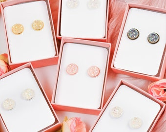 One Pair Ice Queen Faux Druzy Earring Studs | 12mm Classic Size | Bridesmaid Gift