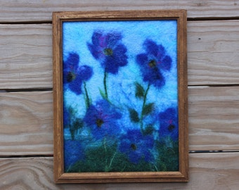 Home decor, wool painting, wool art, wool flowers, wool pictures, flowers, gifts for her, gifts for Moms, Mother's Day