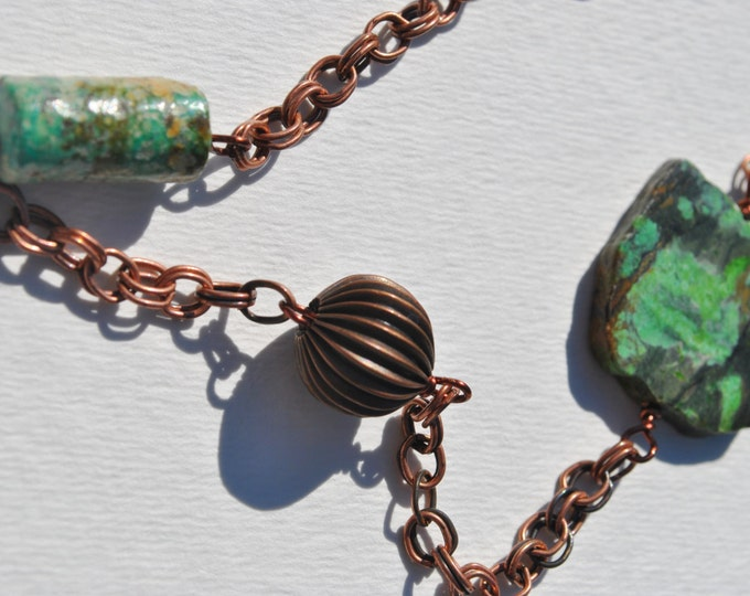 Chinese Turquoise and Copper Chain Necklace, Green Turquoise, long necklace