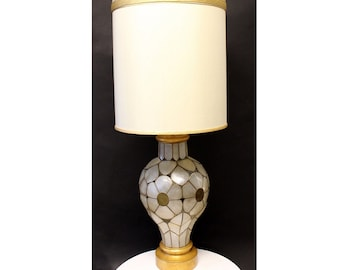 Mid Century Modern Rembrandt Capiz Shell Floral Table Lamp Original Shade
