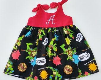 Ninja Turtle dress, TMNT Dress, Teenage Mutant Ninja Turtles inspired outfit, baby dress, coming home outfit, birthday dress