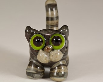 Gray Tabby Cat Lampwork Bead