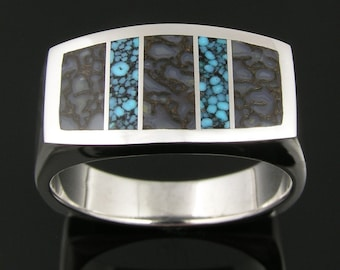 Stainless Steel Dinosaur Bone Ring with Spiderweb Turquoise Inlay
