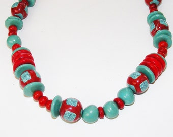 Turquoise and Red Necklace, Handmade Clay beads, Coral, Fun