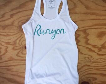 Runyon Women's Teal Script Yoga Tank Made In USA