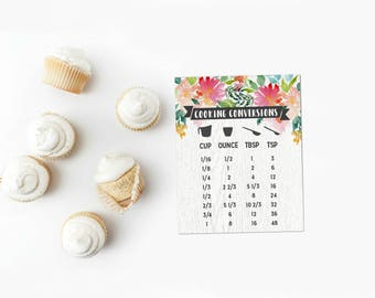 Cooking Conversion Chart | Rustic Wood & Watercolor Floral | Baking Measurements | Kitchen Magnetic Sign | Home Decor | 5.5X4.2 Inches