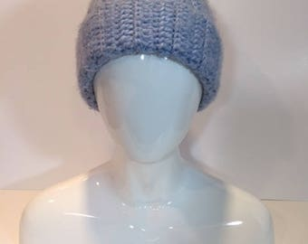 Angel Hair Crochet Hat with faux fur pom, light blue