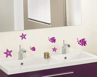 Bathroom wall decor decals the shape of fish and starfish