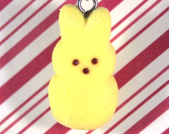 easter necklace bunny peep necklace kawaii polymer clay charms miniature food jewelry polymer clay food necklace marshmallow bunny peep