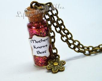 Tangled Necklace, Mother Gothel, Mother Knows Best Bottle Necklace Flower Charm, Disney Villain Jewelry, Disney Jewelry, Villain Necklace