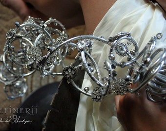 Metal and Crystal Bouquet: A Couture Trailing Arrangement