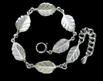 Mid Century AMCO Sterling Leaf Motif 925 Bracelet