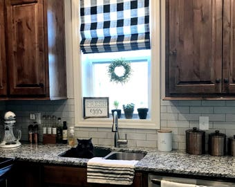 Modern Farmhouse Roman Shades QUICK SHIP Buffalo Plaid Roman Shades Grey  Check Kitchen Window Shades Gingham