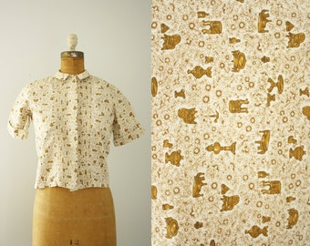 1960s blouse | vintage 60s novelty print shirt