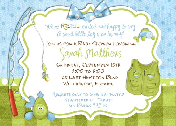 Great Fishing Boy Baby Shower Invitation  Fish Tackle And Rod   Custom And  Printable Invite