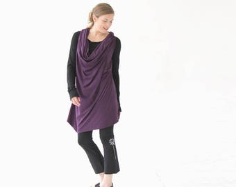 Racerback Tunic | Racerback Dress | Purple Tunic Top | Women's Tunic Top | Loose Tunic | Cowl Neck Top | Cowl Neck Tunic Top