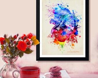 "Fine Art Print, ""Watercolor Kidney"" by Christopher Brown, 8.5"" x 11"", Anatomy Medical print, Registered Nurse Gift, Watercolor Splatter art"
