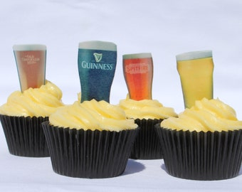 21 Stand Up Beer Glass Cupcake Toppers, Edible