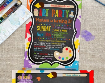Art Party Invitation with Matching Address Labels - Painting Birthday - Colorful, Chalkboard Design - Custom, Personalized Digital files