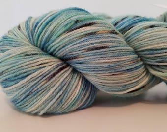 Hand Dyed sock yarn, British Bluefaced Leicester 4 ply sock yarn, 438 yds, 100g