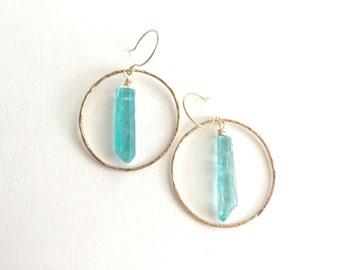 Turguoise Crystal Hoop Earrings