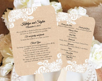Custom Burlap and White Lace Rustic Wedding Fan Programs, Wedding Fan Program, Wedding Program Fan, Wedding favors, wedding fan favors