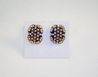 Vintage Gold Tone & Clear Rhinestones Pierced Earrings
