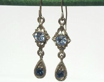 Vintage blue rhinestone drop earrings
