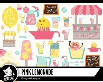 pink lemonade summer clipart |  Lemonade stand digital clip art | pink lemon yellow | commercial use | printable instant download vector