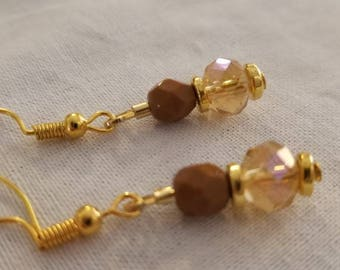 Gold crysyal and burnt umber Drop Earrings