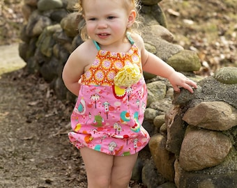 Baby Girl Romper - Floral Bubble Romper - Sunsuit - Beach Outfit - Summer Romper - Toddler Girl Romper - Birthday Outfit - 6 mos to 4 yrs